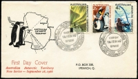 Lot 827 [5 of 9]:Napier 1966 AAT set 1c - $1 tied by MAWSON '16FEB1967' FDI cancel to FDC with scarce cachet with typewritten address. Each cover has a note explaining that the FDI date was when the ship arrived at the base. (4)