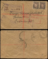 Lot 632 [2 of 2]:Labuan 1945 (Aug 30) covers to Australia at 3d Concessional airmail rate bearing clear strikes of 'FIELD POST OFFICE/30AU45/037' or 'AUST ARMY P.O./20NO45/239' in use in Labuan, former with Censor '3705' handstamp, latter uncensored and registered, handstamped registration details. Scarce duo. (2)