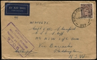 Lot 632 [1 of 2]:Labuan 1945 (Aug 30) covers to Australia at 3d Concessional airmail rate bearing clear strikes of 'FIELD POST OFFICE/30AU45/037' or 'AUST ARMY P.O./20NO45/239' in use in Labuan, former with Censor '3705' handstamp, latter uncensored and registered, handstamped registration details. Scarce duo. (2)