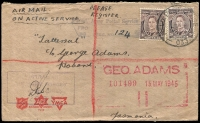 Lot 634 [2 of 5]:Netherlands East Indies 1945 Forces in NEI useful cover selection comprising 'A.I.F. FIELD P.O.' 53 and 54, 'FIELD POST OFFICE' 033 (registered - Proud Not seen) and 036, and 'AUST F.P.O./170' (lustful screenprint!), in use at Macasser, Celebes, Balikpapan, Morotai (Sabatai River), Tarakan, and Morotai, respectively, nice group for display. (5)