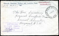 Lot 634 [3 of 5]:Netherlands East Indies 1945 Forces in NEI useful cover selection comprising 'A.I.F. FIELD P.O.' 53 and 54, 'FIELD POST OFFICE' 033 (registered - Proud Not seen) and 036, and 'AUST F.P.O./170' (lustful screenprint!), in use at Macasser, Celebes, Balikpapan, Morotai (Sabatai River), Tarakan, and Morotai, respectively, nice group for display. (5)