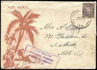 Lot 634 [1 of 5]:Netherlands East Indies 1945 Forces in NEI useful cover selection comprising 'A.I.F. FIELD P.O.' 53 and 54, 'FIELD POST OFFICE' 033 (registered - Proud Not seen) and 036, and 'AUST F.P.O./170' (lustful screenprint!), in use at Macasser, Celebes, Balikpapan, Morotai (Sabatai River), Tarakan, and Morotai, respectively, nice group for display. (5)