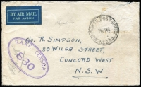 Lot 635:Philippines 1944 (Jul 28) airmail stampless cover (flapless) to NSW with slightly smudged but clear Australian 'AIR FORCE POST OFFICE/No 254' cds, RAAF Censor handstamp, earlier use (at Mindoro, Philippines?) than Proud's date of 26 August 1944.
