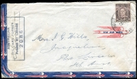 Lot 636:Philippines 1945 (Sep 2) unusual stylized airmail cover to Port Lincoln at 3d Concessional airmail rate bearing clear strike of very scarce 'AUST ARMY P.O./2SE45/515' cds at Manila, Philippines, Censor '2086' handstamp.