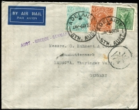 "Lot 772 [1 of 2]:1938 (Jul 5) airmail cover Adelaide-Germany bearing KGV 1/4d & 5d + 4d Koala, attractive combination for 2/1d half oz. airmail service via Greece, Post Office ""AUST. - GREECE - GERMANY"" handstamp, Athens transit."