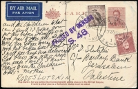 Lot 928:1940 (Aug 27) uprate of KGVI 1½d postal card from Rose Slutkin for 9d airmail postcard rate to Palestine, censored at Sydney and the whole cancelled by GPO Sydney cds. Scarce rate.