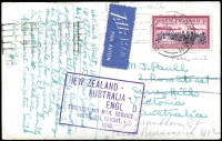 Lot 612 [1 of 2]:1940 (Apr 23) scarce commercial airmail postcard 'Maori Children Bathing in Thermal Pool Rotorua NZ', sent on 1st TEAL New Zealand - Australia flight (AAMC #899), correct 3d rate, sender requesting recipient reply in 'Esperanto'.
