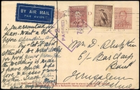 Lot 613:1941 (Mar 26) uprated at Sydney of Stationery KGVI 1½d Postal Card for 9d airmail postcard rate to Palestine, 'BUY/RED CROSS/SEALS' elusive patriotic slogan cancels the whole, Sydney Censor handstamp.
