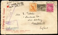 Lot 855 [2 of 2]:1941 and 1943 Clipper Airmail Covers to USA and UK at 4/- and 2/1½d rates, respectively, latter with ½d War tax paid in error, attractive frankings including KGVI 1/4d magenta, censored Sydney and Melbourne. (2)