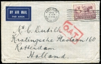 Lot 504 [2 of 2]:1945 (Nov-Dec) airmail covers to the same addressee in Holland bearing various types of London rectangular 'O.A.T.' handstamps, Heifetz Types XI and XII, latter scarce and also with Dutch label affixed, a little roughly handled. Nice duo for exhibit page. (2)