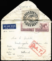 Lot 504 [1 of 2]:1945 (Nov-Dec) airmail covers to the same addressee in Holland bearing various types of London rectangular 'O.A.T.' handstamps, Heifetz Types XI and XII, latter scarce and also with Dutch label affixed, a little roughly handled. Nice duo for exhibit page. (2)