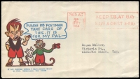 Lot 790:1954 (Oct 13) Ginger Meggs illustrated cover, 'Please Mr Postman take care of this. It is for MY PAL, used to Tasmania with 3d Paid at Melbourne red machine cancel.
