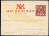 Lot 741:1919-21 1½d Red-Brown KGV Sideface Solid 'OS' Type 2, BW #PO3C, Official Postal Card unused, light stain, minor corner crease lower right.