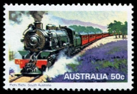 Lot 698 [2 of 2]:1979 Steam Locomotives imperf valueless colour trial based on the 50c Pichi Richi design, plus issued stamp. (2)