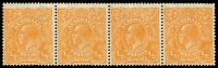 Lot 237 [3 of 6]:½d Orange Varieties on annotated pages Single Wmk marginal block of 4 TLC Plate 7 R7, singles with 6L11, 7R52, 8R12 & 9R59, SM Wmk Mullett imprint pair 9L60, strip of 4 8L32, marginal pair from BRC 9R59 x2, singles 8L32 & 9L20 LM Wmk ½d Green with Flaw above GE of POSTAGE. Cat $695 (12)