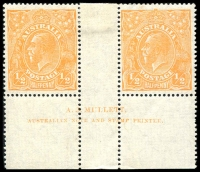 Lot 237 [1 of 6]:½d Orange Varieties on annotated pages Single Wmk marginal block of 4 TLC Plate 7 R7, singles with 6L11, 7R52, 8R12 & 9R59, SM Wmk Mullett imprint pair 9L60, strip of 4 8L32, marginal pair from BRC 9R59 x2, singles 8L32 & 9L20 LM Wmk ½d Green with Flaw above GE of POSTAGE. Cat $695 (12)