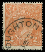 Lot 398 [2 of 6]:1d to 3d varieties including 1d red Rusted top right corner 71(2)e, 1½d green Diagonal gash below ear 88(14)d, 1½d brown Retouched SE corner 85(5A)g, 1½d red Eight wattles at right 89(15)j, 2d orange Die I Retouched LIA in AUSTRALIA 95(6)d, 2d red White flaw on T of TWO 96(11)d plus others. (23)