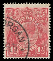 Lot 398 [3 of 6]:1d to 3d varieties including 1d red Rusted top right corner 71(2)e, 1½d green Diagonal gash below ear 88(14)d, 1½d brown Retouched SE corner 85(5A)g, 1½d red Eight wattles at right 89(15)j, 2d orange Die I Retouched LIA in AUSTRALIA 95(6)d, 2d red White flaw on T of TWO 96(11)d plus others. (23)