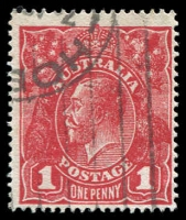 Lot 398 [4 of 6]:1d to 3d varieties including 1d red Rusted top right corner 71(2)e, 1½d green Diagonal gash below ear 88(14)d, 1½d brown Retouched SE corner 85(5A)g, 1½d red Eight wattles at right 89(15)j, 2d orange Die I Retouched LIA in AUSTRALIA 95(6)d, 2d red White flaw on T of TWO 96(11)d plus others. (23)