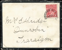 Lot 583:1d Brownish Rose (G23½) Smooth Paper (dull purple-red UV reaction) tied by Moonee Ponds cds to 1917 (Oct 24) mourning cover to Traralgon, BW #71M, Cat $300.
