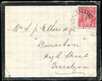 Lot 177:1d Crimson (G23) Smooth Paper (orange-pink UV reaction) tied by Castlemaine cds to 1917 (Oct 26) mourning cover to Traralgon, BW #71N, Cat $400.