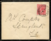 Lot 174 [4 of 5]:1d Red shades selection on 1915-18 covers comprising Dull Red (semi-surfaced), Scarlet-red, Scarlet (Aniline), Rose and Rose-carmine (BW #71E,G,I,K,L). (5)