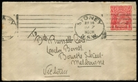 Lot 174 [1 of 5]:1d Red shades selection on 1915-18 covers comprising Dull Red (semi-surfaced), Scarlet-red, Scarlet (Aniline), Rose and Rose-carmine (BW #71E,G,I,K,L). (5)