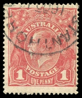 Lot 271 [2 of 2]:1d Red Varieties on neatly illustrated pages with 7 different major varieties listed on smooth paper incl Dot before '1', Run 'N' of ONE, 'NY' joined 71(4)o (Cat $250), plus 3 minor varieties and other examples for reference. (21)