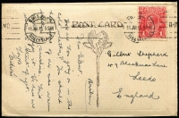 Lot 176:1d Salmon-Red (G12) Smooth Paper BW #71C, (more daylight 'yellow' than 71B) tied by Brisbane machine cancel to 1915 (Jan 11) PPC to Leeds, UK, Cat $350.