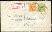Lot 510:4d Greenish Olive + ½d orange tied by 'REGISTERED/19MY24/HOBART' cds to locally addressed registered cover, rare Hobart label (Burt T5d), attractive and very early usage [stamp issued 1 MY 1924]
