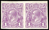 Lot 631:1d Plate Proof in Mauve printed by Perkins Bacon, imperforate pair on thin white, glazed card, BW #70PP(2)E, Cat $1,050+.