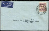 Lot 137 [2 of 2]:9d Purple on 1935 (Sep-Oct) airmail covers from same correspondence to Batavia DEI, tied by Ship Mail Room or Late Fee Melbourne cds, 9d ½oz airmail rate, latter item (little roughly opened) without 1d Late Fee paid. (2)