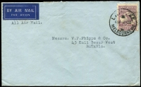 Lot 137 [1 of 2]:9d Purple on 1935 (Sep-Oct) airmail covers from same correspondence to Batavia DEI, tied by Ship Mail Room or Late Fee Melbourne cds, 9d ½oz airmail rate, latter item (little roughly opened) without 1d Late Fee paid. (2)