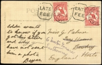 Lot 3:1d Red Die I on postcard ('Odell Gully, 