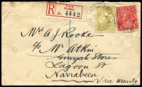 Lot 47 [1 of 2]:3d Olive Die I used with 1d red KGV, cancelled with Sydney 4JA16 cds, on cover to Narrabeen, red and black registration label, (slight soiling).
