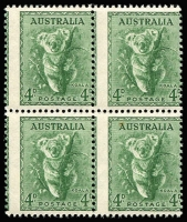 Lot 401:1938-57 4d Koala No Wmk Perf 14¾x14 block of 4 with misplaced perforations, minor tone spots, BW #198ba, Cat $700.