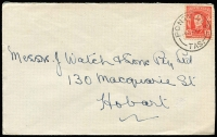 Lot 410 [1 of 2]:1942-50 2½d Scarlet KGVI good example of the variety White face (and leaves), tied by Pontville Tas cds to 1947 (Oct 26) cover to Hobart, unpriced used, also normal on cover for comparison, BW #230c, Cat $225 mint. (2)