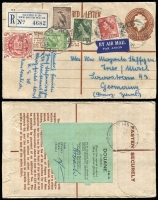 Lot 415 [2 of 2]:1948-56 5/- Arms standard-sized articles comprising 1956 and 1959 registered airmail covers to less usual destinations of Germany (French Zone) and Finland, rates of 7/3d (2/- airmail x3 + 1/3d registration) and 6/6d (2/3d airmail x2 + 2/- registration). (2)