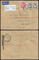 Lot 415 [1 of 2]:1948-56 5/- Arms standard-sized articles comprising 1956 and 1959 registered airmail covers to less usual destinations of Germany (French Zone) and Finland, rates of 7/3d (2/- airmail x3 + 1/3d registration) and 6/6d (2/3d airmail x2 + 2/- registration). (2)