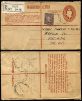 Lot 959 [2 of 4]:1946-52 cover accumulation comprising stampless (11), bearing Australian stamps (45, two registered), overprinted 1d (5) and 3d (7), range of Army, Navy, Air Force cancels and related, two inwards items to Kure, another with interesting 6-page letter, quality of strikes and condition vary, generally good with some useful pickings. (70)