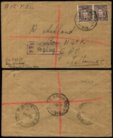 Lot 572 [3 of 4]:1946-52 cover accumulation comprising stampless (11), bearing Australian stamps (45, two registered), overprinted 1d (5) and 3d (7), range of Army, Navy, Air Force cancels and related, two inwards items to Kure, another with interesting 6-page letter, quality of strikes and condition vary, generally good with some useful pickings. (70)