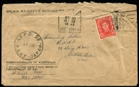 Lot 959 [1 of 4]:1946-52 cover accumulation comprising stampless (11), bearing Australian stamps (45, two registered), overprinted 1d (5) and 3d (7), range of Army, Navy, Air Force cancels and related, two inwards items to Kure, another with interesting 6-page letter, quality of strikes and condition vary, generally good with some useful pickings. (70)