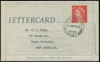 Lot 1193 [3 of 5]:1966: (Feb 14) CTO selection cancelled first day of issue comprising Australian 4c envelope, 4c lettercard, 4c lettersheet, 4c wrapper and 9c aerogramme. (5)