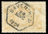 Lot 1007 [2 of 5]:Belgium 1879-1950s Railway Stamps collection on 20 Hagners used with minor duplication, appears to be largely complete with all sets of printings represented, incl 1879 Royal Arms 80c orange, 1882 2F ochre, Journaux Dagbladen ovpts. (c330)