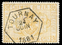 Lot 1007 [1 of 5]:Belgium 1879-1950s Railway Stamps collection on 20 Hagners used with minor duplication, appears to be largely complete with all sets of printings represented, incl 1879 Royal Arms 80c orange, 1882 2F ochre, Journaux Dagbladen ovpts. (c330)