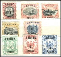Lot 1050 [3 of 4]:Labuan 1894-1904 collection in small album with most sets incl 1895 surcharge 'LABUAN/4-40/cents' on $1 scarlet, set of 5, SG #75-79, 1900 'LABUAN' optd unused set of 6 SG #111-16, 1902 set of 12 mint & used with remainder cancels, SG #117-28 and 'LABUAN/4/cents' surcharge set of 9 SG #129-37 plus many more. Further inspection will reward. (125)