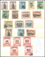 Lot 1050 [4 of 4]:Labuan 1894-1904 collection in small album with most sets incl 1895 surcharge 'LABUAN/4-40/cents' on $1 scarlet, set of 5, SG #75-79, 1900 'LABUAN' optd unused set of 6 SG #111-16, 1902 set of 12 mint & used with remainder cancels, SG #117-28 and 'LABUAN/4/cents' surcharge set of 9 SG #129-37 plus many more. Further inspection will reward. (125)