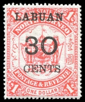 Lot 1050 [1 of 4]:Labuan 1894-1904 collection in small album with most sets incl 1895 surcharge 'LABUAN/4-40/cents' on $1 scarlet, set of 5, SG #75-79, 1900 'LABUAN' optd unused set of 6 SG #111-16, 1902 set of 12 mint & used with remainder cancels, SG #117-28 and 'LABUAN/4/cents' surcharge set of 9 SG #129-37 plus many more. Further inspection will reward. (125)