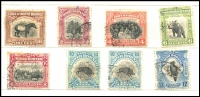 Lot 1055 [5 of 6]:North Borneo 1883-1960s Collection in small album with attractive early issues, many postally used, mostly in short sets (excluding higher values) incl 1888 ½d to 10c, 1904 Animals to 12c, 1939 used set to $1, 1945 BMA to 50c, 1949 UPU, also noted: $2 green with 'BRITISH/PROTECTORATE' opt in red SG #143, $5 black and lake fine used SG #182, 1922 10c & 12c optd 'MALAYA-BORNEO/EXHIBITION/1922.'. Limited duplication, worth further inspection. (c250)