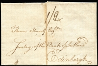 Lot 1657:1784 (Sep 18) Entire to Edinburgh from London with mss 1/2 and Bishop mark '18/SE' on reverse. Central filing crease.